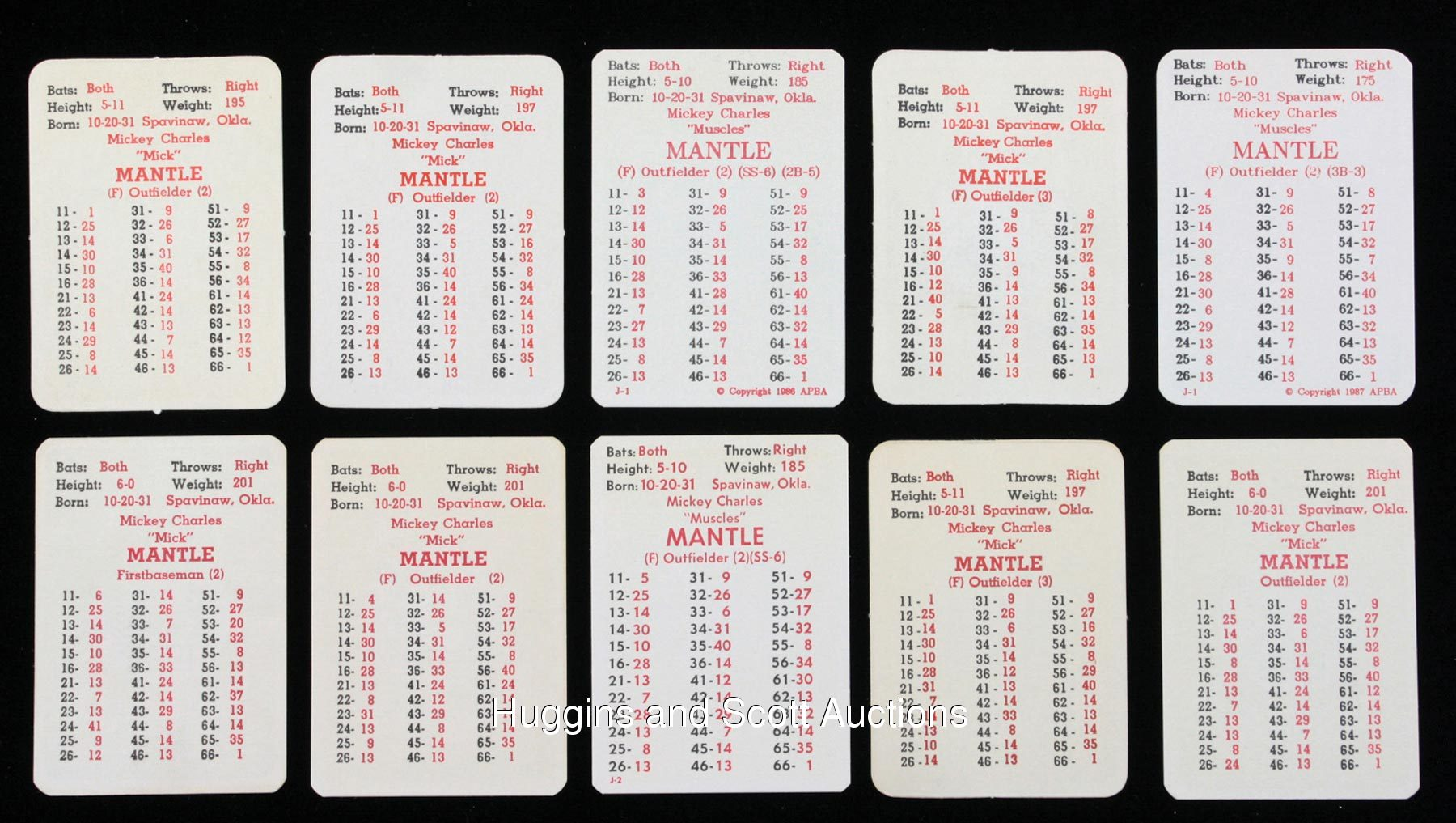 10 1960s 1980s Apba Mickey Mantle Cards
