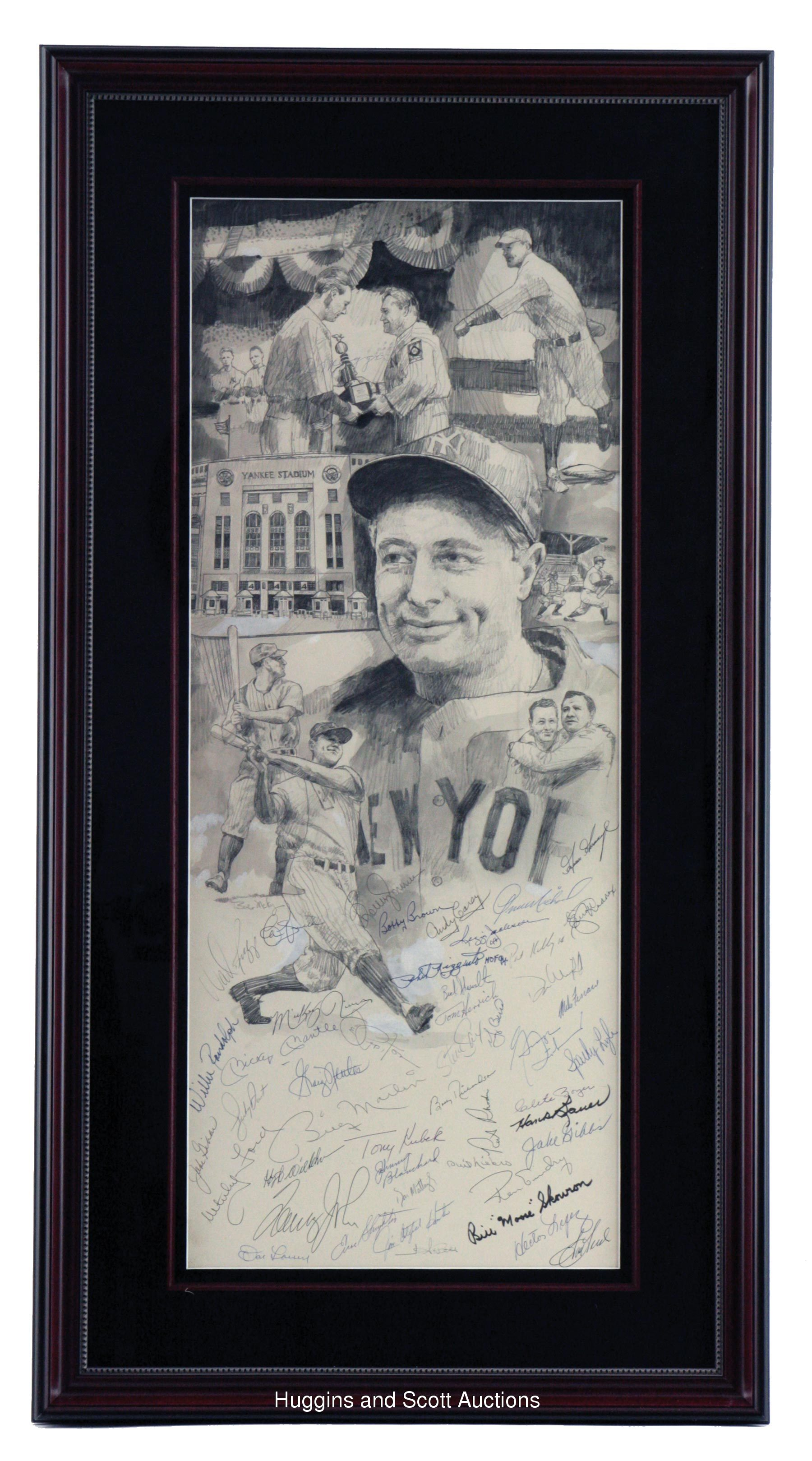ad5851c69 New York Yankee Multi-Signed Lou Gehrig Framed Litho with (48 ...